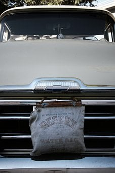 Classic, Car, Truck, Pickup, Grill, Vintage, Water