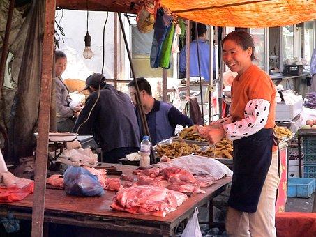 Market Woman, Woman, China, Sale, Meat, Dandong
