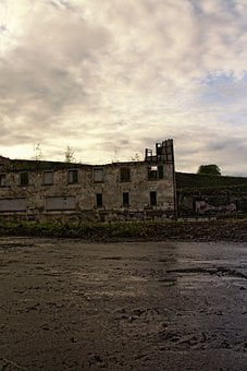 Spinning, Decay, Old Building, Ruin, Landscape, Dusk