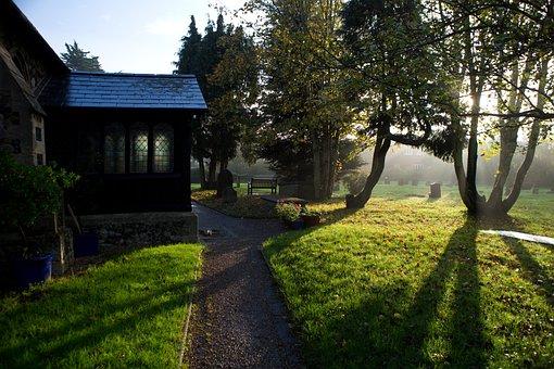Early Morning Sun, November, Misty, Churchyard