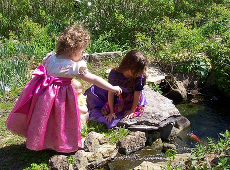 Girl, Spring, Dress, Fish, Easter, Playing, Pond