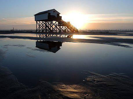 North Sea, St Peter-ording, Pile Construction, Holiday
