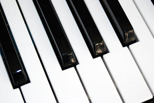 Piano, Keyboard Keys, Music Instrument, Black White