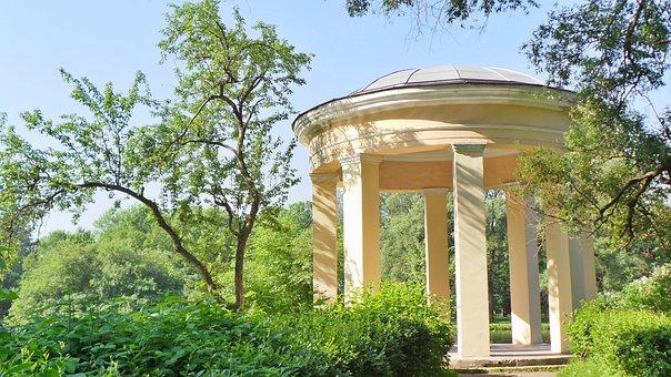 Park, Parks, Green, Trees, Rotunda, Sky, Russia, Nature