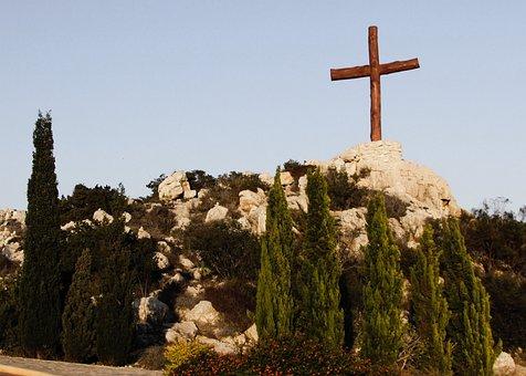 Cross, Hill, Landscape, Christianity, Religion