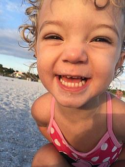 Child, Beach, Sand, Pure Happiness, Girl, Smile