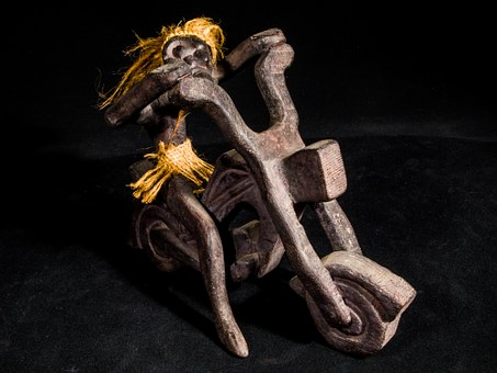 Wooden Motorbike With Driver, Wild Hairstyle