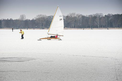 Ice Yachts, Lake, Frozen, Skate, Winter Snow, Sport