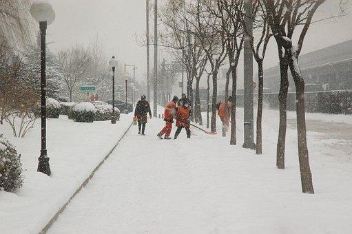 Snowfall, Snow, Shoveling, Walking, Working, Winter