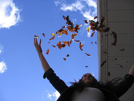 Leaves, Autumn, Fall, Throw, Happy, Girl, Woman