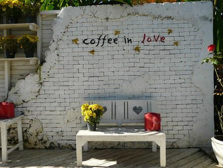 Coffee Shop, Coffee, Love, Bench, Wall, Watering Can