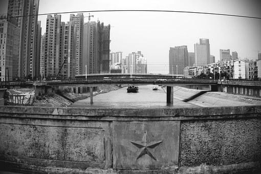 Wuhu River Bridge, Qingyi, Black And White