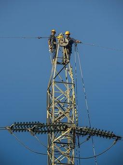 Tower, Electricity, Electricians, Hv, Sky, Blue