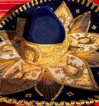 Sombrero, Hat, Mexican, Mariachi, Blue, Gold