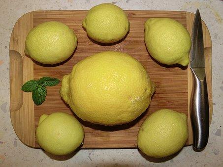 Lemon, Knife, Board, Salad, Fruit, Citrus Fruit, Frisch