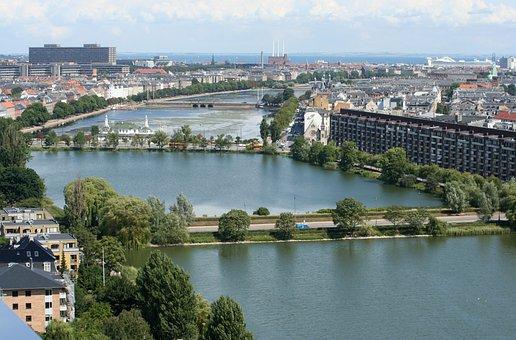 Copenhagen, View, City, Denmark, Hust Up, Summer, Lakes