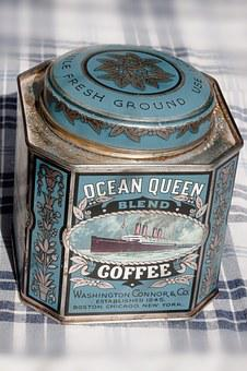 Box, Old, Brand, Tin Can, Coffee, 1845, Blue, Silver