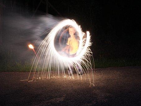 Fireworks, Bengali Fire, Match, Long Exposure