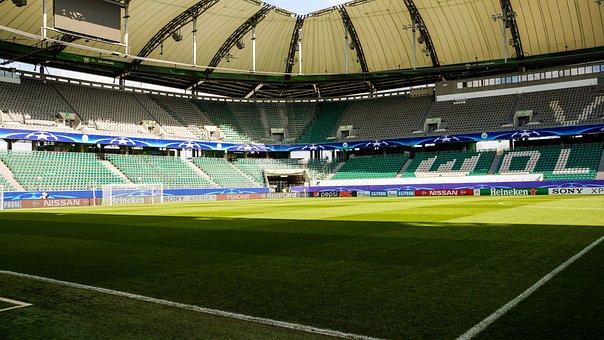 Stadium, Soccer, Football, Field, Green, Grass, Empty