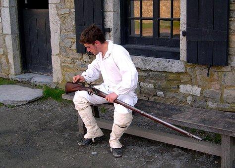 Colonial, Ticonderoga, Soldier, History, Rifle, Gun