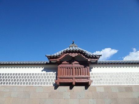 Japan, Castle, Wall, Blue, Sky, Kanazawa