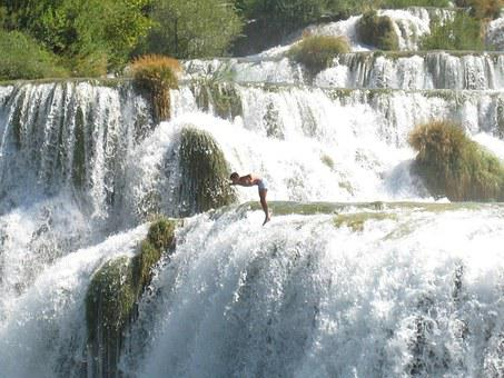 Waterfall, Jump, Deep, Water, High, Free Case, Abyss