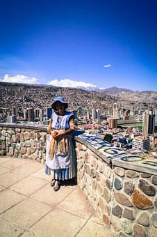 La Paz, Bolivia, Woman, Lady, Buildings, City