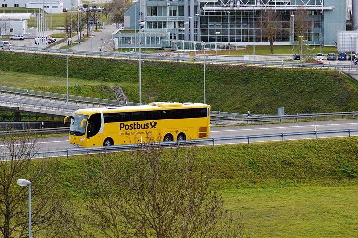 Bus, Yellow, Post, Road, Munich Airport