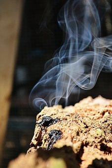 Smoke, Log On Fire, Fire, Old Log, Smoke Effect