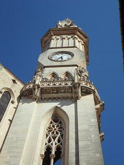 Tower, Steeple, Clock, High, Perspective, Sublime