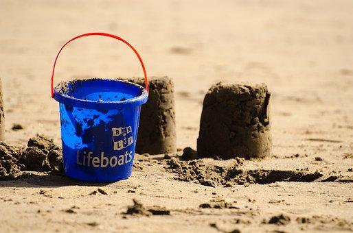 Bucket, Blue, Sand Cake, Children, Game, Sea, Joy