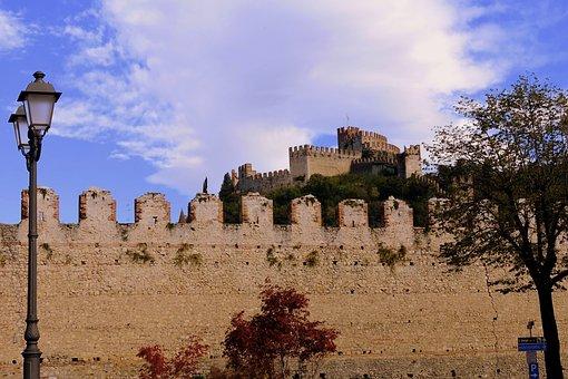 Castle, Wall, Cloud, Sky, Lamppost, Clouds, Sweet