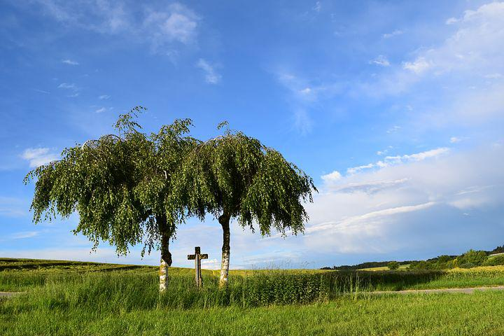 Field Cross, Landscape, Sky, Tradition, Rural, Clouds