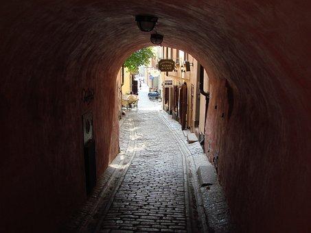 Grotto, Tunnel, Street Scene, Street, Stockholm, Sweden