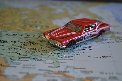 Road Trip, Car, Map, Atlas, United States, America