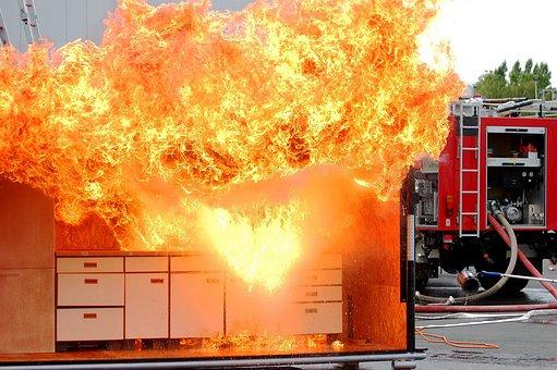 Fire, Feuerloeschuebung, Kitchen Fire, Flame, Water