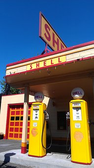 Vintage, Shell, Gas Station, Yellow Gas Pump, Blue Sky