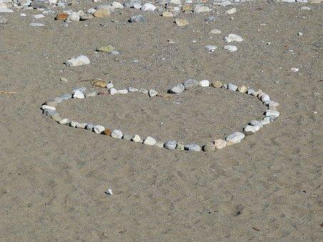 Heart, Beach, Sand, Stones, Love, Vacations, Lovers