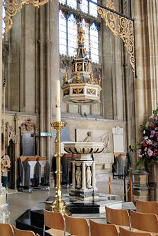 Font, Cathedral, Baptistery, Religion, Canterbury