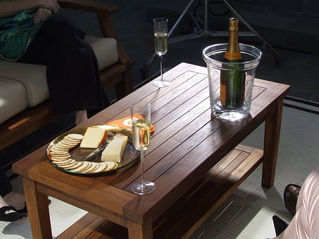 Teak, Teak Table, Coffee Table, Wine, Cheese