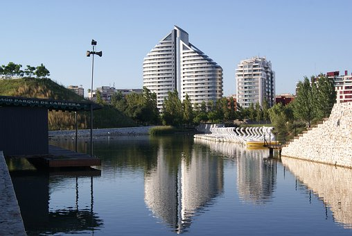 Valencia, Park, Lake, Architecture, Skyline, City