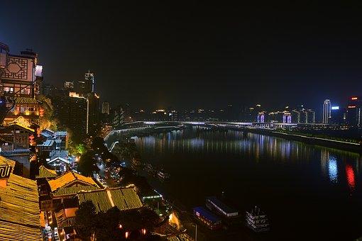 Chongqing Night, Hongya Cave, Huang Garden Bridge