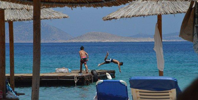 Chalki, Beach, Kania, Greece, Boys, Diving
