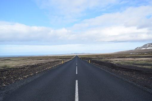 Iceland, Straight Road, Lonely, Direction, Landscape