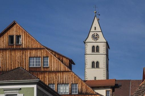 Meersburg, Historic Center, Steeple, Lake Constance