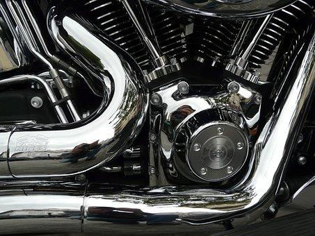 Motorcycle, Harley Davidson, Chrome, Steel, Bike