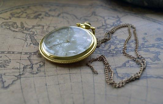 Clock, Pocket, Map, Brown, Gold, On A Chain