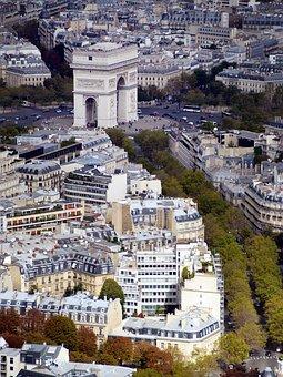 Arc De Triomphe, Paris, Franch, Panorama, City, View