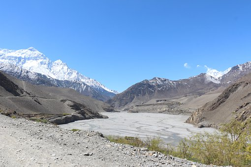 Riverbed, Valley, Mountain, Snow, Snowclad, Blue Sky
