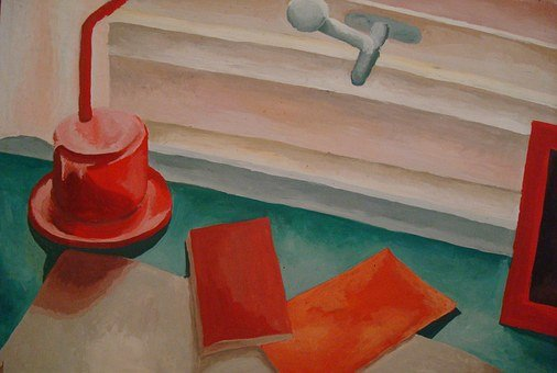Painting, Art, Still Life, Red, Desk, Lamp, Frame
